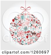 Retro Christmas Bauble Of Holiday Items On Shading