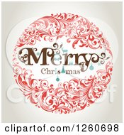 Clipart Of A Retro Merry Christmas Floral Wreath On Shading Royalty Free Vector Illustration