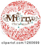 Clipart Of A Retro Merry Christmas Floral Wreath Royalty Free Vector Illustration