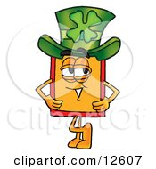 Price Tag Mascot Cartoon Character Wearing A Saint Patricks Day Hat With A Clover On It