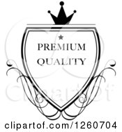 Black And White Crowned Premium Quality Shield With Swirls