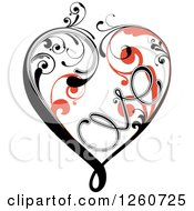 Clipart Of A White Orange And Black Flourish Heart Spelling LOVE Royalty Free Vector Illustration