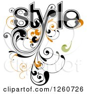 Clipart Of Style Text With Green And Orange Flourishes Royalty Free Vector Illustration