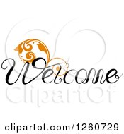 Welcome Text With An Orange Flourish