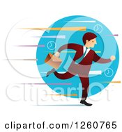 Clipart Of A Caucasian Businessman Running Over A Blue Circle And Colorful Streaks Royalty Free Vector Illustration