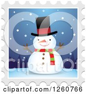 Clipart Of A Christmas Snowman Stamp Design Royalty Free Vector Illustration