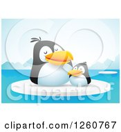 Clipart Of A Cute Penguin Chick And Mother On Floating Ice Royalty Free Vector Illustration by Qiun
