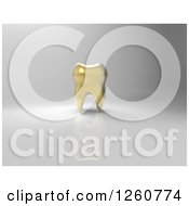 Clipart Of A 3d Golden Tooth Over Gray Royalty Free Illustration