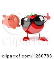 Clipart Of A 3d Tomato Wearing Sunglasses And Holding Up A Finger And A Piggy Bank Royalty Free Illustration