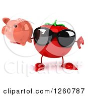 Clipart Of A 3d Tomato Wearing Sunglasses Holding A Piggy Bank And A Thumb Down Royalty Free Illustration