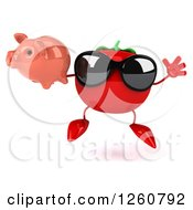 Clipart Of A 3d Tomato Wearing Sunglasses And Jumping With A Piggy Bank Royalty Free Illustration