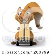 Clipart Of A 3d Squirrel Moving Boxes On A Dolly Royalty Free Illustration