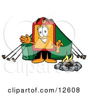 Price Tag Mascot Cartoon Character Camping With A Tent And Fire