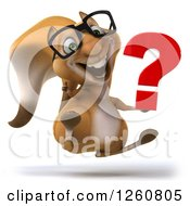 Clipart Of A 3d Bespectacled Squirrel Giving A Thumb Up And Jumping With A Question Mark Royalty Free Illustration