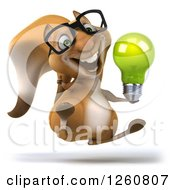 Clipart Of A 3d Bespectacled Squirrel Jumping With A Green Light Bulb Royalty Free Illustration