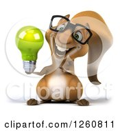 Clipart Of A 3d Bespectacled Squirrel Holding And Pointing To A Green Light Bulb Royalty Free Illustration