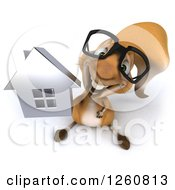 Clipart Of A 3d Bespectacled Squirrel Holding Up A House Royalty Free Illustration