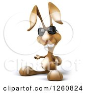 Clipart Of A 3d Brown Bunny Rabbit Wearing Sunglasses And Presenting Royalty Free Illustration