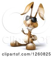Clipart Of A 3d Brown Bunny Rabbit Wearing Sunglasses And Pointing Up Royalty Free Illustration