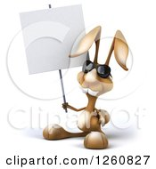 Clipart Of A 3d Brown Bunny Rabbit Wearing Sunglasses And Holding A Blank Sign Royalty Free Illustration