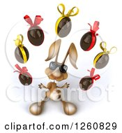 Clipart Of A 3d Brown Bunny Rabbit Wearing Sunglasses And Juggling Chocolate Eggs Royalty Free Illustration