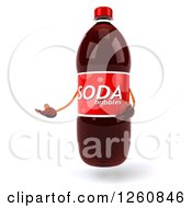Clipart Of A 3d Soda Bottle Character Presenting Royalty Free Illustration