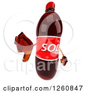 Clipart Of A 3d Soda Bottle Character Holding A Thumb Down Royalty Free Illustration