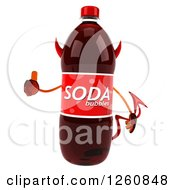 Clipart Of A 3d Devil Soda Bottle Character Giving A Thumb Up Royalty Free Illustration