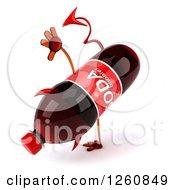 Clipart Of A 3d Devil Soda Bottle Character Cartwheeling Royalty Free Illustration