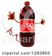 Clipart Of A 3d Devil Soda Bottle Character Jumping Royalty Free Illustration