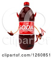 Clipart Of A 3d Devil Soda Bottle Character Presenting Royalty Free Illustration