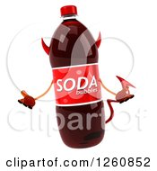 Clipart Of A 3d Devil Soda Bottle Character Shrugging Royalty Free Illustration