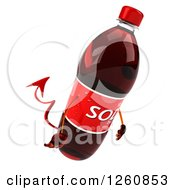 Clipart Of A 3d Devil Soda Bottle Character Pouting Royalty Free Illustration