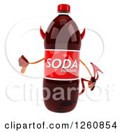 Clipart Of A 3d Devil Soda Bottle Character Giving A Thumb Down Royalty Free Illustration
