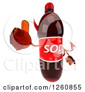 Clipart Of A 3d Devil Soda Bottle Character Holding A Thumb Up Royalty Free Illustration