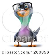 Clipart Of A 3d Bespectacled Pigeon Royalty Free Illustration