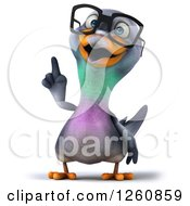 Clipart Of A 3d Bespectacled Pigeon Pointing Up Royalty Free Illustration