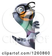 Clipart Of A 3d Bespectacled Pigeon Pointing Around A Sign Royalty Free Illustration