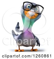 Clipart Of A 3d Bespectacled Pigeon Holding A Thumb Up Royalty Free Illustration