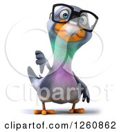 Clipart Of A 3d Bespectacled Pigeon Holding A Thumb Down Royalty Free Illustration
