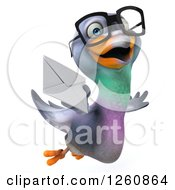 Clipart Of A 3d Bespectacled Pigeon Flying With An Envelope Royalty Free Illustration