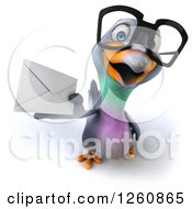 Clipart Of A 3d Bespectacled Pigeon Holding Out An Envelope Royalty Free Illustration