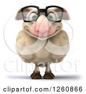 Clipart Of A 3d Happy Bespectacled Sheep Royalty Free Illustration by Julos