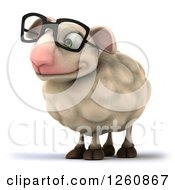 Clipart Of A 3d Bespectacled Sheep Looking To The Left Royalty Free Illustration