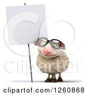 Clipart Of A 3d Bespectacled Sheep Smiling Under A Blank Sign Royalty Free Illustration