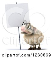 Clipart Of A 3d Bespectacled Sheep Smiling And Looking Up At A Blank Sign Royalty Free Illustration