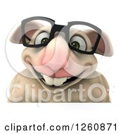 Clipart Of A 3d Bespectacled Sheep Smiling Over A Sign Royalty Free Illustration