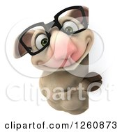 Clipart Of A 3d Bespectacled Sheep Smiling Around A Sign Royalty Free Illustration