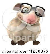 Clipart Of A 3d Bespectacled Sheep Running Royalty Free Illustration