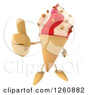 Clipart Of A 3d Strawberry And Vanilla Waffle Ice Cream Cone Character Holding A Thumb Up Royalty Free Illustration